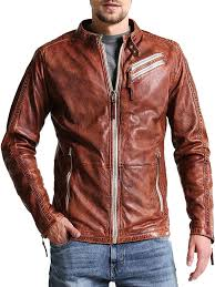 men distressed brown leather jacket