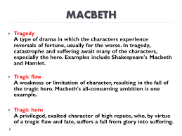 example about macbeth essay tragic hero never in the play does he once doubt the sin he was about to commit