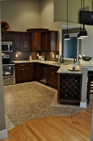 Travertine Flooring In Kitchen Oak Hardwood Floors With Curved Transition To Mosaic Travertine