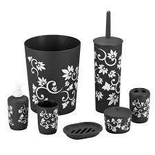 Black Bathroom Accessories Amazoncom Durable 7 Piece Printed Bathroom Set In Black Home