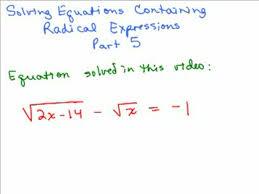 solving radical equations 5 help in high school math advanced algebra free math help s by mathvids com