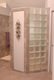 designs for walk in showers. this doorless walk in shower design has a glass block privacy wall. designs for showers