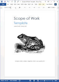 Scope Of Work Template Ms Word Excel Templates Forms