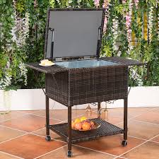 costway portable rattan cooler cart trolley outdoor patio pool party ice drink mix brown 0