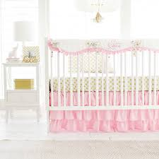 white crib bedding baby pink and