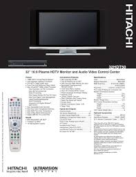 Hitachi 50v500a Light Engine Hitachi 32hdt50 32 In Plasma Television Manualzz Com