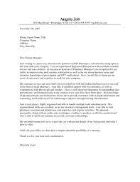 Pharmacist Job Cover Letter Resume At For Perfect Resume