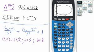 conic sections ellipse horizontal major axis app ti 84 calculator