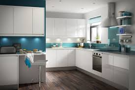 Outstanding Apartment Kitchen Design Ideas Presenting L Shaped Featuring  White Gloss Lacquered Finish Cabinets With Grey