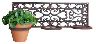 wrought iron wall ed plant holder for three terracotta pots stunning wall plant hanger wall
