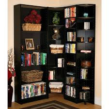 Home Organization:L Shaped Black Polished Wood Bookshelves Tall Wooden  Corner Bookshelf Idea Design L