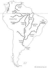 Labeled Outline Map Rivers Of South America Enchantedlearning Com