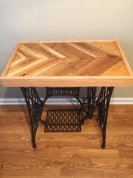 Wood Pallet Table Top Reclaimed Pallet Epoxy Tabletop With Cast Iron Singer Base