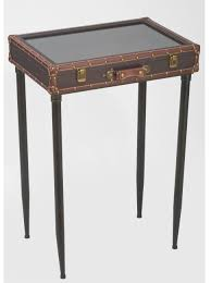 display table glass top suitcase