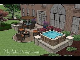 Medium Size Patio Ideas and Designs with FirepitHot TubPavilion