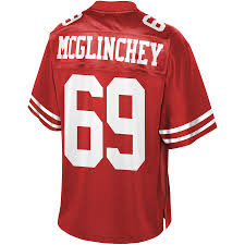 Pro 49ers Scarlet Men's Francisco Player San Mcglinchey Jersey Line Team Nfl Mike