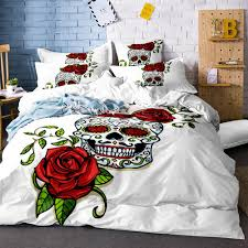 cartoon skull red rose flowers duvet cover white bedding set soft quilt cover single bed comfortable queen size sj132 custom bedding baseball bedding from
