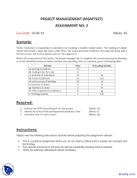 Pert Chart Exercises Pert Chart And Slack Time Management Assignment Docsity