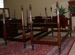Amazing Very Nice Matched Pair Of Pineapple Posts Solid Mahogany Twin Beds  Antique Twin Bed Set Decor