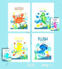 kids fish bathroom set decor baby mermaid cartoons swimming dolphin