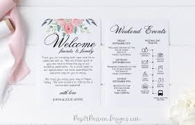 Welcome Card Templates Wedding Welcome Card Wedding Weekend Itinerary Pink Boho
