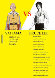daily workout one punch man vs bruce lee i put the fan in fandom workout one punch man and one punch