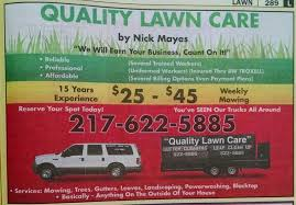 lawncare ad yellow page ads quality lawn care springfield il