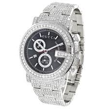 genuine mens gucci chrono diamond watch 15 ct