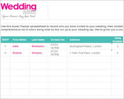 wedding list spreadsheet wedding guest list template 6 free sample example format free