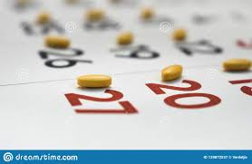 Medicines Schedule Yellow Pills On A Calendar Stock Image Image Of Herbal 129872537