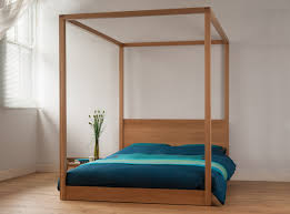 Poster Bedroom Furniture Cube Modern Four Poster Bed Solid Wood Natural Bed