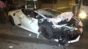 Deputies Investigate A Lamborghini Crash In West Hollywood On June 29,  2017. (Credit: ANGNews) N