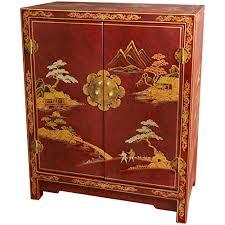 Laquer furniture High Oriental Furniture Red Lacquer Cabinet Amazoncom Amazoncom Oriental Furniture Red Lacquer Cabinet Kitchen Dining