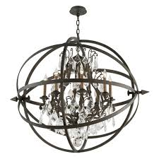 crystal orb chandelier pendant light in vintage bronze finish alt1