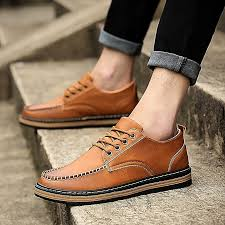 generic men vintage soft leather causal shoes