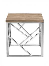 aero chrome wood side table
