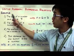 algebra translating algebraic to numerical expressions