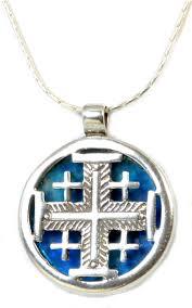 jerum cross sterling silver holy land roman glass necklace by michal kirat