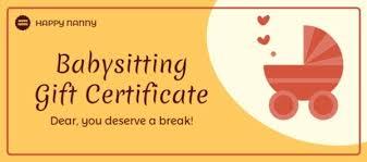 babysitting certificates online babysitting gift certificate template fotor design