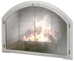 natural stainless steel arched masonry fireplace door