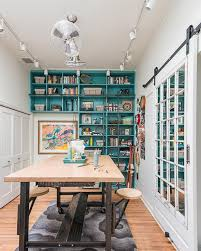 craft room lighting ideas. eclectic crafts room with turquoise booksehlf craft lighting ideas e