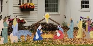 color yard nativity scene by outdoor nativity