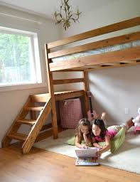 Plans For A Loft Bed Ana White Camp Loft Bed With Stair Junior Height Diy Projects