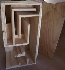 inside view pine plywood fostex fe206en back loaded horn speaker cabinet