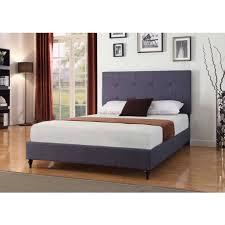 Full Size Dark Blue Charcoal Linen Platform Bed With Upholstered Linen Platform Bed