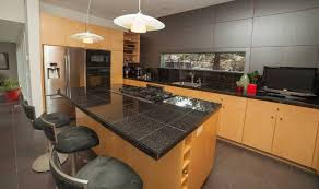 black marble tile countertop