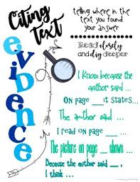 Citing Text Evidence Anchor Chart And Student Bookmarks