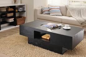 coffee table wilson modern black wood coffee table storage bins glass insert black coffee table