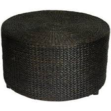 Oriental Furniture Rustic Coffee Table Foot Stool, 30 Inch Woven Water  Hyacinth Rattan Style