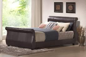winchester faux leather sleigh bed king size faux leather black